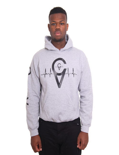 GREY ARM PRINT HOODY
